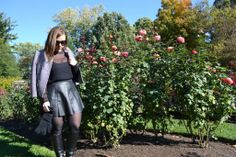Faux Leather & Embellishments in the rose garden
