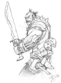 Orc by Max-Dunbar on DeviantArt Character Sketches, Character Design References, Character Drawing, Character Concept, Concept Art, Fantasy Drawings, Fantasy Art, Comic Books Art, Comic Art