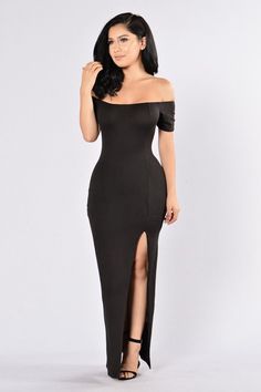 - Available in Burgundy and Black - Off Shoulder Dress - Maxi Length - Bodycon Fit - Front Side Slit - Cap Sleeves - Made in USA - 96% Polyester 4% Spandex