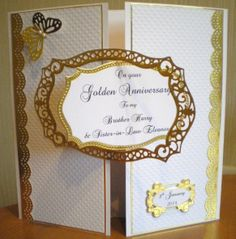 50th Golden Wedding Anniversary using Spellbinders and Tonic