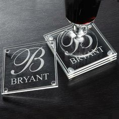 Family Name and Initial Glass Coasters - Set of 4