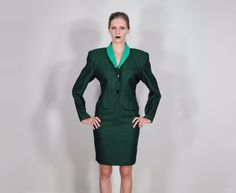womens vintage suit 80s 90s green tweed power by LockedRoomMystery