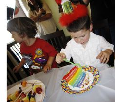"""Rainbow layer cake for """"The Hungry Caterpillar"""" party"""