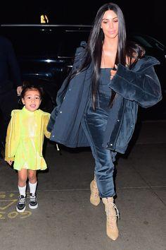 Check out Kim Kardashian West's street style evolve as the seasons have shifted, here. Kim Kardashian And North, Kardashian Style, Kardashian Jenner, Kourtney Kardashian, Kendall Jenner, Night Outfits, Cute Outfits, Fashion Outfits, Winter Outfits