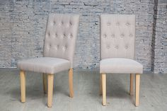Pair of Chairs Home Dining Room Upholstered Button Grey Furniture Set Modern for sale online Grey Furniture Sets, Dining Chairs, Dining Room, Stools, Modern, Button, Home Decor, Ebay, Benches
