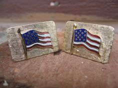 Vintage American FLAG Cufflinks Gold ToneWedding by TreeTownPaper, $28.00