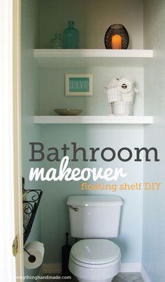 Finished bathroom makeover | floating shelves DIY