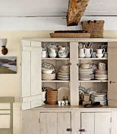 antique filled cupboard.