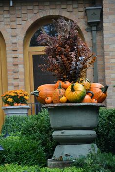 Various sized gourds add pretty Fall color inside or out. These look great in outside urns.