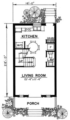 Petite Cottage floorplan 1st level I'd move kitchenette to edge of living room and add bedroom on the backside w/bathroom.