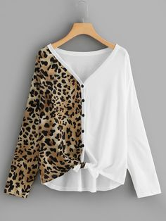 Knot Leopard Print Tee Long Sleeve T-Shirt Women Autumn Casual Clothing Spring V Neck Button Placket Tops Multi XL Leopard Print Outfits, Casual Outfits, Fashion Outfits, Ootd Fashion, Fashion Shoes, Spring Outfits Women, Creation Couture, Casual Fall, Refashion