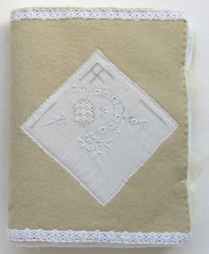 """Back cover of """"White Daisies"""", a note book with textile (vintage cotton) pages http://www.artymoods.com https://www.etsy.com/ie/shop/ArtyMoods"""