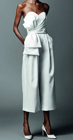 Commuting Bare Back Off-Shoulder Belted Pure Colour Jumpsuit - Fashion & Street Style - Bridal Pants, Wedding Jumpsuit, Look Fashion, Trendy Fashion, Womens Fashion, Fashion Design, Miami Fashion, Street Fashion, Fashion Brands