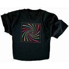 Black T-shirt with sound-and-motion activated swirl design on the front lights up and flashes to any music or ambient sound!
