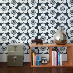 Aimee Wilder Wallpaper- Pop Floral Charcoal by Aimee Wilder | JUST KIDS WALLPAPER™