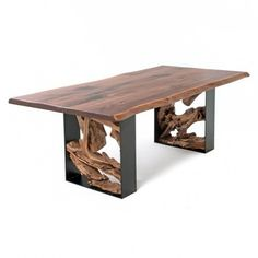 Twisted Trails Live Edge Rustic Dining Table from Woodland Creek Log Furniture Wood Slab Table, Walnut Table, Rustic Table, Wood Tables, Walnut Wood, Copper Wood, Farm Tables, Diy Table, Side Tables