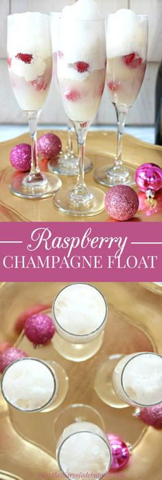 Raspberry Champagne Float. This sweet alcoholic cocktail recipe is perfect for both Christmas and New Year's parties. It could also be a signature drink idea for a wedding or black tie party. Just combine ice cream with raspberries and the champagne or prosecco of your choice!