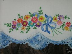 Vintage Embroidered & Crochet Edged Pillowcase