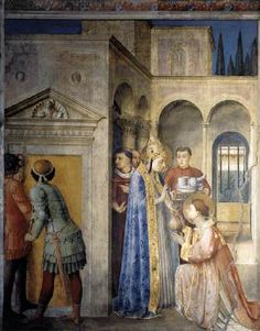 St. Lawrence Receives the Treasures of the Church (north wall) - Fra Angelico.  1447-49.  Fresco.  271 x 205 cm.  Niccoline Chapel, Vatican Palace, Vatican City.