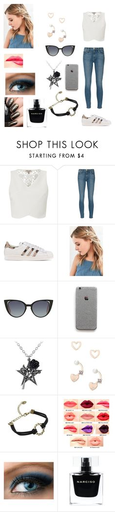 """Raina's outfit for day in Dublin, Ireland"" by onedirectionforever1297 on Polyvore featuring Lipsy, Frame Denim, adidas Originals, Urban Outfitters, Fendi, NYX and Narciso Rodriguez"