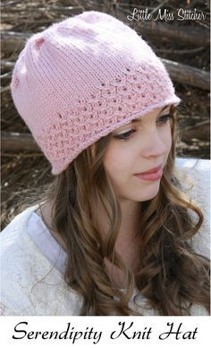 Serendipity Knit Hat Free Pattern. I just love the lace brim on this!
