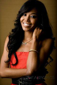 Glitter Long Wavy Black African American Wigs for Women