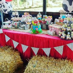 Check out this adorable farm birthday party dessert table. The cake is too cute! See more party ideas and share yours at CatchMyParty.com