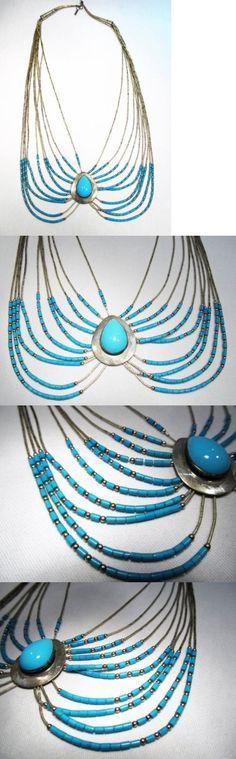 Native American pre-1935 165137: Estate Vintage Navajo Sterling Liquid Silver Turquoise Heshi Necklace K574 -> BUY IT NOW ONLY: $49 on eBay!