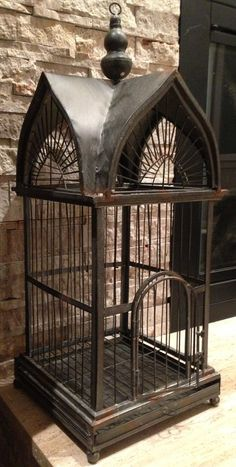 Large Metal Victorian Style Bird Cage With Sliding Bottom And Opening Door and Hanging Hook