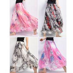 Stylish Gracila Bohemian Chiffon Floral Print Elastic Waist Maxi Skirt For Women - NewChic Mobile.