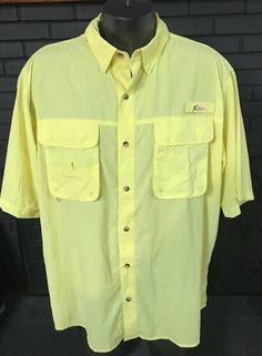 970b6507 World Wide Sportsman Vented Fishing Shirt Yellow Men's Size XL  #WorldWideSportsman #ButtonFront Fishing Shirts
