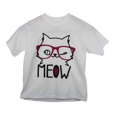 "Girls White ""Meow"" Cat Face Print Short Sleeve Cotton Trendy T-Shirt 6-16"