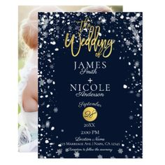 Winter Snowflakes Gold Foil Full Photo Wedding Card - minimal gifts style template diy unique personalize design
