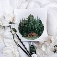 (@rosies.sketchbook) Here is another attempt at making a cabin And i also tried to avoid using blue paint for this one.
