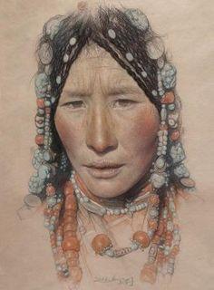"William Wu; Pastel, Drawing ""Portrait of the Tibetan girl wearing a headdress"" by isrc"