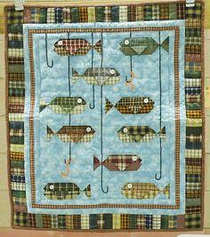 "Homespun Fish quilt, 23 x 27"", by Judy Hartzler. Ohio Mennonite quilt sale."