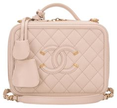 02cc910c2fdd Chanel Light Beige Caviar Small Filigree Vanity Case Shoulder Bag. Get one  of the hottest
