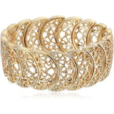 Amazon.com: 1928 Jewelry Gold-Tone Filigree Stretch Bracelet: Clothing ($20) ❤ liked on Polyvore featuring jewelry, bracelets, 1928 jewelry, gold tone bangles, stretch jewelry, goldtone jewelry and gold tone jewelry