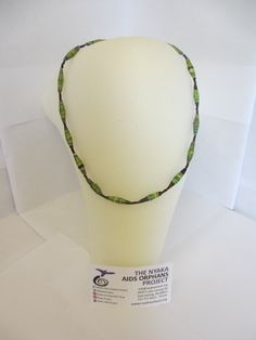 Short Green Upcycled Magazine Paper Bead Necklace - Recycled, The Nyaka AIDS Orphans Project, African, Uganda, Jewelry, Handmade, Non-Profit...$10.00