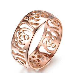 8 18K rose gold plated hollow out camellia love finger ring Engagement Rings