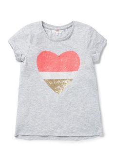 100% Cotton Tee. Jersey tee, with short sleeves. Features fully sequinned heart motif on front. Regular fitting silhouette. Available in Shortcake and Cloud.