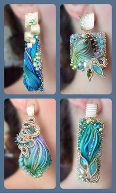 Bead Embroidery Jewelry, Soutache Jewelry, Fabric Jewelry, Beaded Embroidery, Beaded Jewelry, Jewellery, Boutiques, Shibori Tie Dye, How To Make Earrings