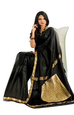 Black mysore silk saree with a gold border. - RmKV Silks #MysoreSilk #Sarees