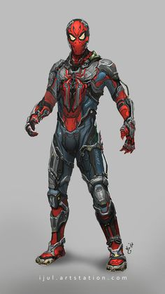 With a suit from Tony, it means Peter is pretty much Iron Spider at this point. The costume comes with a JARVIS-like artificial intelligence, complete with a holographic interface. The spider logo on his chest is a surveillance drone. Marvel Comics, Marvel Heroes, Marvel Characters, Marvel Avengers, Marvel Venom, Captain Marvel, Cartoon Characters, Spiderman Art, Amazing Spiderman