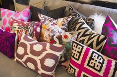 Bright Throw Pillows in Fun Colors + Patterns