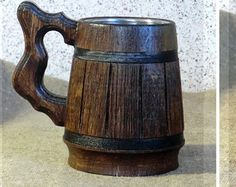 Personalized Wooden Beer Mug 0.5 l Handmade Tankard by WoodenMaden