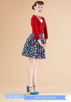 The Dream of the Crop Cardigan in Red | Mod Retro Vintage Sweaters | ModCloth.com - pretty adorable shoes and dress.