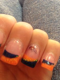 Broncos nails Caron Horton Greenwood you should let me do this for you! Sexy Nails, Cute Nails, Pretty Nails, Denver Broncos Nails, Football Nail Art, Crazy Nails, Orange Nails, Cool Nail Designs, Manicure And Pedicure