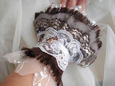 Lacy Victorian cuff Romantic Frayed Layers Fabric Wrist by seragun, $50.00