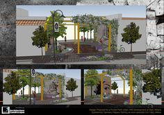 Samples of Design Proposals for a Greener City of Athens, Greece. Types of urban acupuncture tools such as pocket parks, reclaim of urban voids, internal courtyards, public parks, pedestrian walkways and urban gardens.